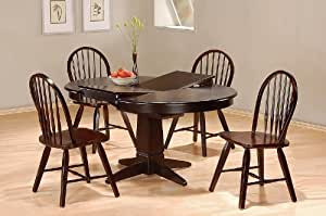 5pc Cappuccino Finish Dining Room Table Windsor Chairs Set Furni