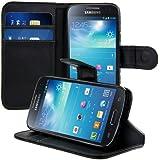 kwmobile Elegante funda de cuero sintético para el Samsung Galaxy S4 Mini i9190 / i9195 con cierre magnético y función de soporte en Negro