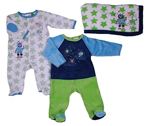 Absorba Baby-Boys 4 Pc Set With Footed Pajama, 2Pc Velour Playset And Cuddle Blanket (3 Months, Blue/Green/White) front-843843