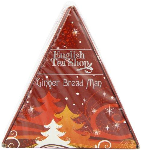 English Tea Shop X'mas Triangle Gift Ginger Bread Man Pyramid Tea Bag Gift (Pack of 4, Total 24 Tea Bags)