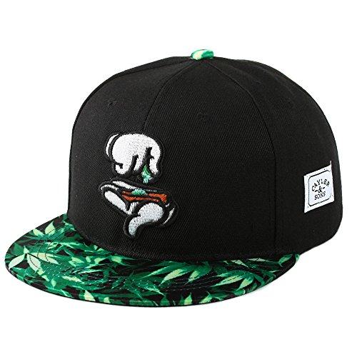 Yingrui-Embroidery-Mens-Bboy-Brim-Marijuana-Baseball-Cap-Snapback-Hip-hop-Hat-Black
