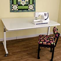 Hot Sale Kangaroo Kabinets Tasmanian Model Height Adjustable Mobile Sewing Embroidery Cutting Hobby Craft Work Desk Table Storage Furniture Unit with Locking Casters and Blue Sewing Chair White