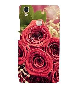 Lot Of Red Rose 3D Hard Polycarbonate Designer Back Case Cover for vivo V3Max