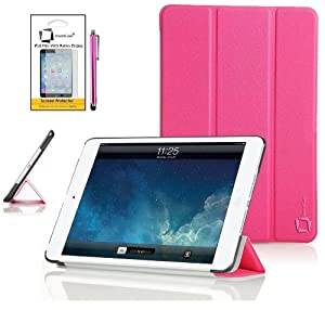 New Apple iPad mini 2 2013 / iPad mini 3 2014 (ALL Model Versions) PINK Multi-Function SMART FOLIO Front & Back Case / Smart Cover / Typing & Viewing Stand / Premium Flip Case With Magnetic Sleep Sensor & Screen Protector Shield Guard & iPadMini iPad mini 3 Pink Stylus Pen Accessory Accessories Pack by InventCase®