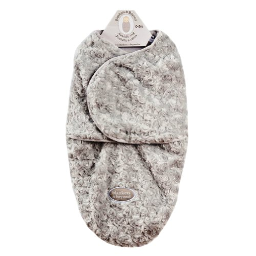 Baby's Small Rose Motif Swaddle Bag for 0-3 Months By Blankets And Beyond Gray - 1