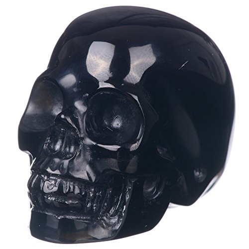"Mineralbiz New Design! 1.8""- 2"" Natural Black Obsidian Hand Carved Realistic Crystal Skull, Human Skull Head Carving, Pocket Skull, Healing Reiki"
