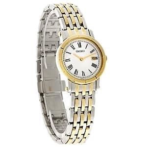 Seiko Quartz Ladies White Dial Two Tone Stainless Steel Bracelet Watch SXB418