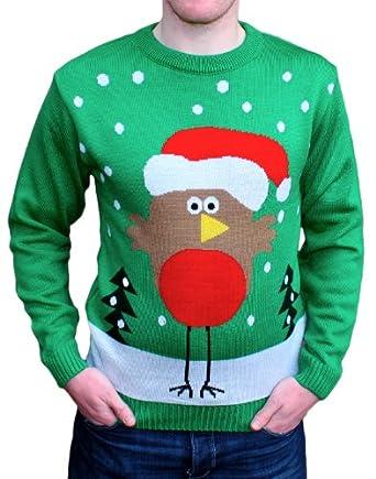 Christmas Jumper, Robin, Ladies & Mens, Novelty (X-Small)