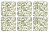 Pimpernel 10.5 x 10.5 cm MDF with Cork Back Marigold Coasters, Set of 6, Green/Multi-Colour