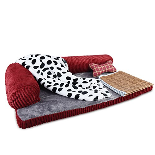 Petacc Dog Bed Detachable Dog Sofa Pet Crate Pad, Blanket, Pillow,Summer Sleeping Mat 27.3