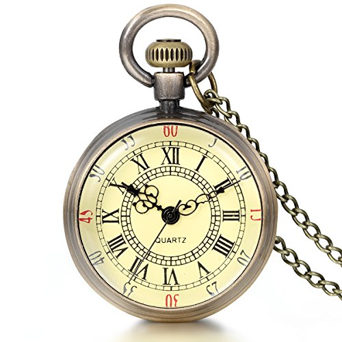 JewelryWe Retro Vintage Roman Numerals Dial Quartz Transparent Glass Lid Pocket Watch Long Necklace Pendant 31.7...