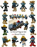 """Smurfs 2.5"""" Toy Play Set & Carry Bag - Papa, Gutsy, Smurfette, Brainy, Clumsy, and Friends (12 Smurf Figures)"""