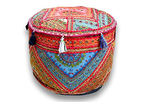 """Rajasthali"" Round Patchwork Embroidered Multi Ottoman Pouf Bohemian Indian Decorative, Size 14 X 18 X 18 Inches - 1"