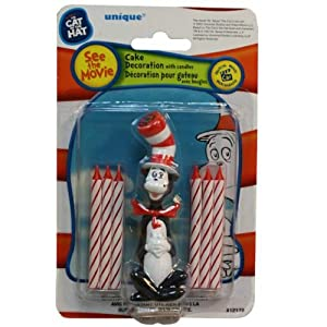 See Dr. Seuss Cat In The Hat Candles And Cake Decoration Full size and View details