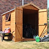8ft x 6ft Shiplap Apex Wooden Storage Shed - Premier Groundsman - Brand 8x6 New Double Door Full Tongue and Groove Sheds
