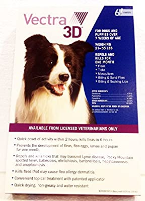 Vectra 3D 6 Pack Blue For Medium Dogs 21 - 55 Pounds USA Version EPA Registered (Controls Fleas, Ticks, Mosquitoes, Lice, Mites, and Sand Flies)