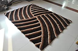 3D Shaggy Shag Beige Brown Tan Rug 5\'x7\' Hand Tufted Sun Design Shaggy Area Rug 3 Dimensional Viscose Yarns Thick Pile Bedroom Livingroom