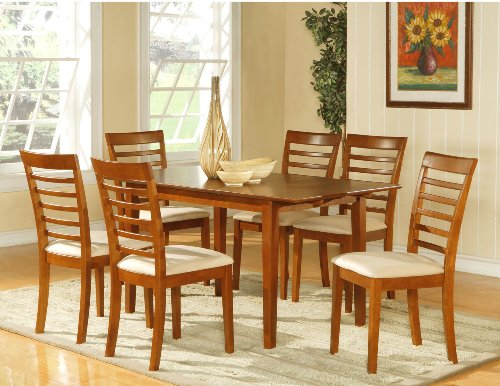 7pc dining room dinette set table and 6 chairs brown larry n