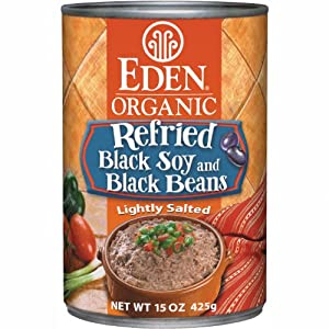 Eden Organic Refried Black Soy & Black Beans, 15-Ounce Cans (Pack of 12)