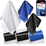 (6 Pack) Microfiber Cleaning Cloth in Vinyl Pouches. Best Screen Cleaner for iPhone, iPad, Galaxy Tab, Samsung, Nexus, HTC, Sony, LG Smart Phones, Surface Tablet, Cell Phone, Glasses, GoPro, Camera Lenses, Laptop, LCD TV, Computer Flat Screens and Delicate Surfaces. 1 Large & 5 Medium-sized Cloths with Microfiber Sticker Pad by Clean Screen Wizard®