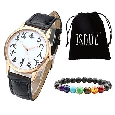JSDDE Uhren Set Fashion 12 Schwarz Yoga Muster Armbanduhr + Lava 7 Chakras Yoga-Armband mit Geschenk Samtbeutel,Schwarz