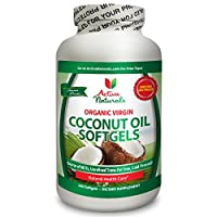 Coconut Oil Supplement 2000mg - Best Virgin, Organic, Unrefined, Trans-Fat Free & Cold Pressed Coconut Oil Capsules to Help Aid in Weight Loss, Maintain Healthy Cholesterol Level and Support Healthy Hair & Skin Naturally - 60 Days Supply (240 Softgels with 2000 mg per serving)