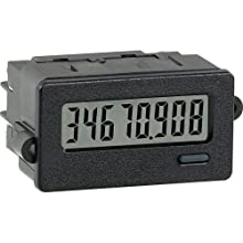 Red Lion CUB7 High Voltage Miniature Electronic Counter Digital Panel Meter, 8 Digit LCD Display, 50-250 VDC/VAC, 50/60 Hz Input Max