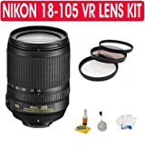Nikon 18-105mm f/3.5-5.6 AF-S DX VR ED Nikkor Lens for Nikon Digital SLR Cameras + UV Filter + Care Package