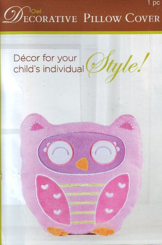 Pink Owl Child'S Pillow Cover Zippered