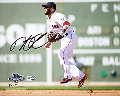 """Dustin Pedroia Boston Red Sox 2013 World Series Champions Autographed 8"""" x 10"""" Green Monster Photograph - Fanatics Authentic Certified"""