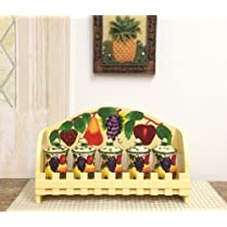 3-D MIxed Fruit Ceramic 5-Piece Spice and Rack, 87044 by ACK