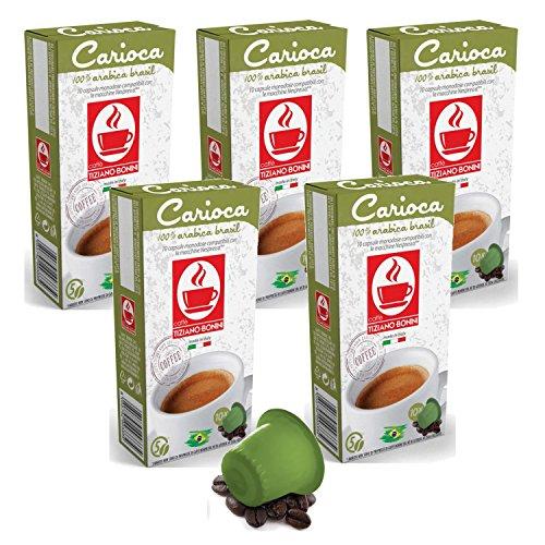 Find Bonini Coffee Capsules, Carioca - Nespresso Compatible- 5-Pack (5x10 Capsules) - Caffè Tiziano Bonini