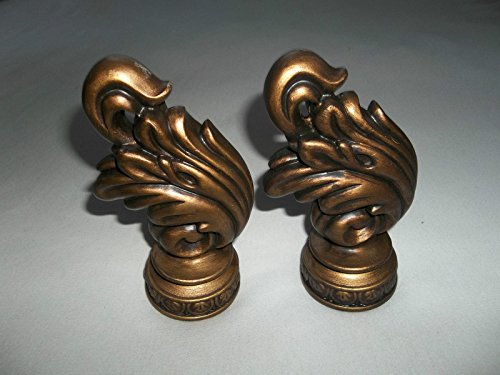 Valencia Leaf Finial Pair Hand Painted Antique Gold For Curtain Rods front-726194