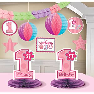 1st birthday girl decorating kit party for Baby girl first birthday decoration