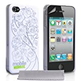 White And Silver Floral Pattern Hard Hybrid IMD Case Cover For The Apple iPhone 4 / 4S Siri With Screen Protector Film And Grey Micro-Fibre Polishing Clothby Mobile Madhouse