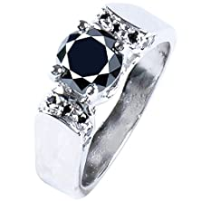 buy Ringjewel 1.39 Ct Aaa Black Color Round Real Moissanite Solitaire Engagement & Wedding Ring