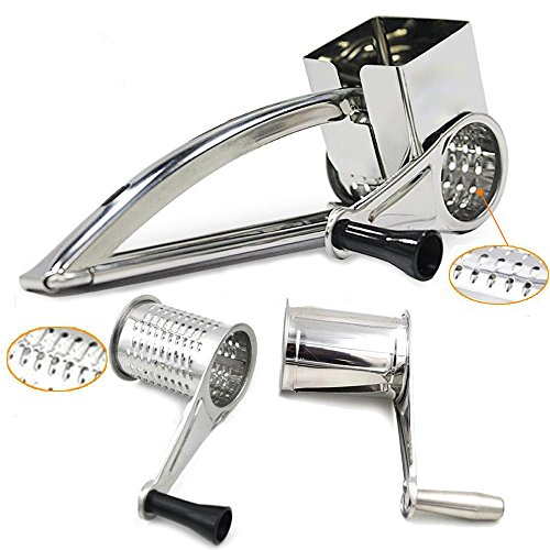 Rotary Cheese Grater, Peyou Stainless Steel Hand-Crank Rotary Razor Sharp Blades Shredder Slicer Machine with 3 Drums - Easy Kitchen Aid (Crank Cheese Grater compare prices)