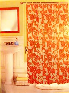 Newport San Marino Orange Floral Paisley Fabric Shower Curtain