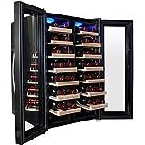 AKDY® 32 Bottle Dual Zone Thermoelectric Freestanding Wine Cooler Cellar Chiller Double Door Refrigerator Fridge Quiet Operation