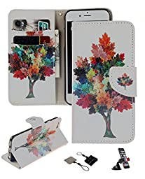 LG G4 Wallet Case , Castle Cas [Colorful Tree] Duplex Design Flip Card Slot Slim Fit Magnetic Premium Polyurethane Leather TPU Cover Case With Car Mount Phone Holder - Color