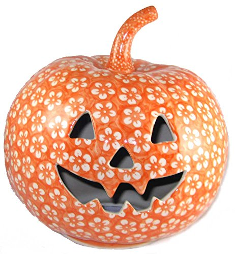 9-polish-pottery-stoneware-pumpkin-halloween-jack-o-lantern-j8or-orange-floral