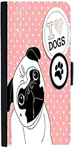 Snoogg I Love Pugs Cute Little Pug On Polka Dot Background Designer Protective Phone Flip Case Cover For Oneplus Two