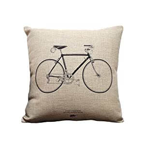 Bicycle Print Throw Pillow : Amazon.com: Vintage Beige Linen Throw Pillow Covers Bicycle Print Decorative Pillow Covers 45x45 ...