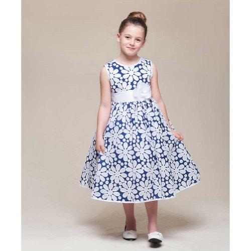 Crayon Kids Navy White Sheer Overlay Flower Girl Dress Toddler Girl 4T front-697799