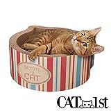Cat1st Cat-headed Round Cardboard Scratcher Cuddler Bed(Stripe)