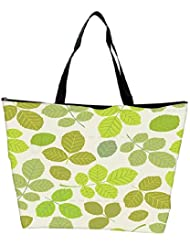 Snoogg Abstract Leaves In Green Designer Waterproof Bag Made Of High Strength Nylon
