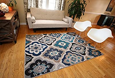 Generations New Contemporary Panal and Diamonds Beige Navy Coral Blue Grey Modern Area Rug Rugs 8036