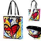 Romero Britto Tote Bag 4 Hearts Large Satin Design Hand Purse Handbag Gift New !