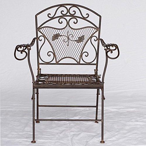 Sedia da giardino da giardino in metallo con braccioli marrone pieghevole per casa balcone terrazzo