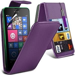 (Purple) Nokia Lumia 630 Schutzmaßnahmen Kunst Credit / Debit-Karten-Leder Flip Case Hülle, Retractable Touch Screen Stylus Pen & LCD-Display Schutzfolie von Hülle Spyrox
